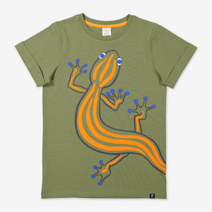 Lizard Print Kids T-Shirt-Boy-6-12y-Green