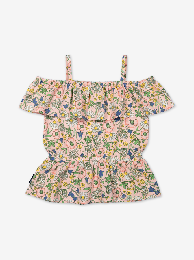 Top with floral print-Girl-6-12y-Pink