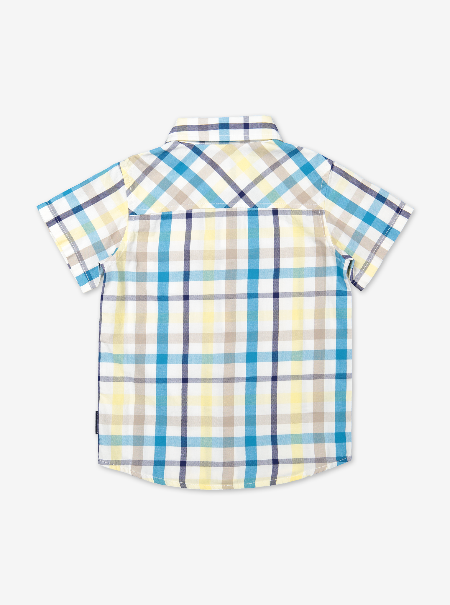 Summer Check Kids Shirt-Boy-1-12y-Turquoise