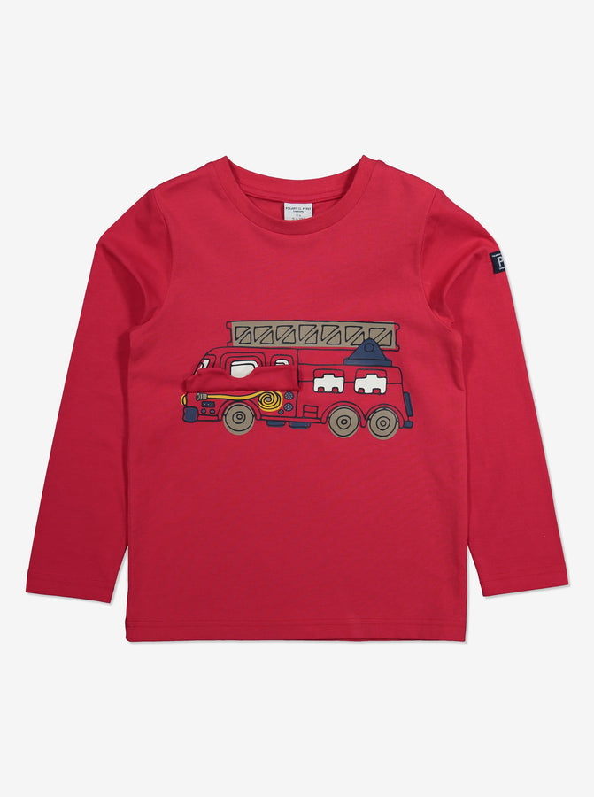 Fire Engine Print Kids Top-Unisex-1-6y-Red