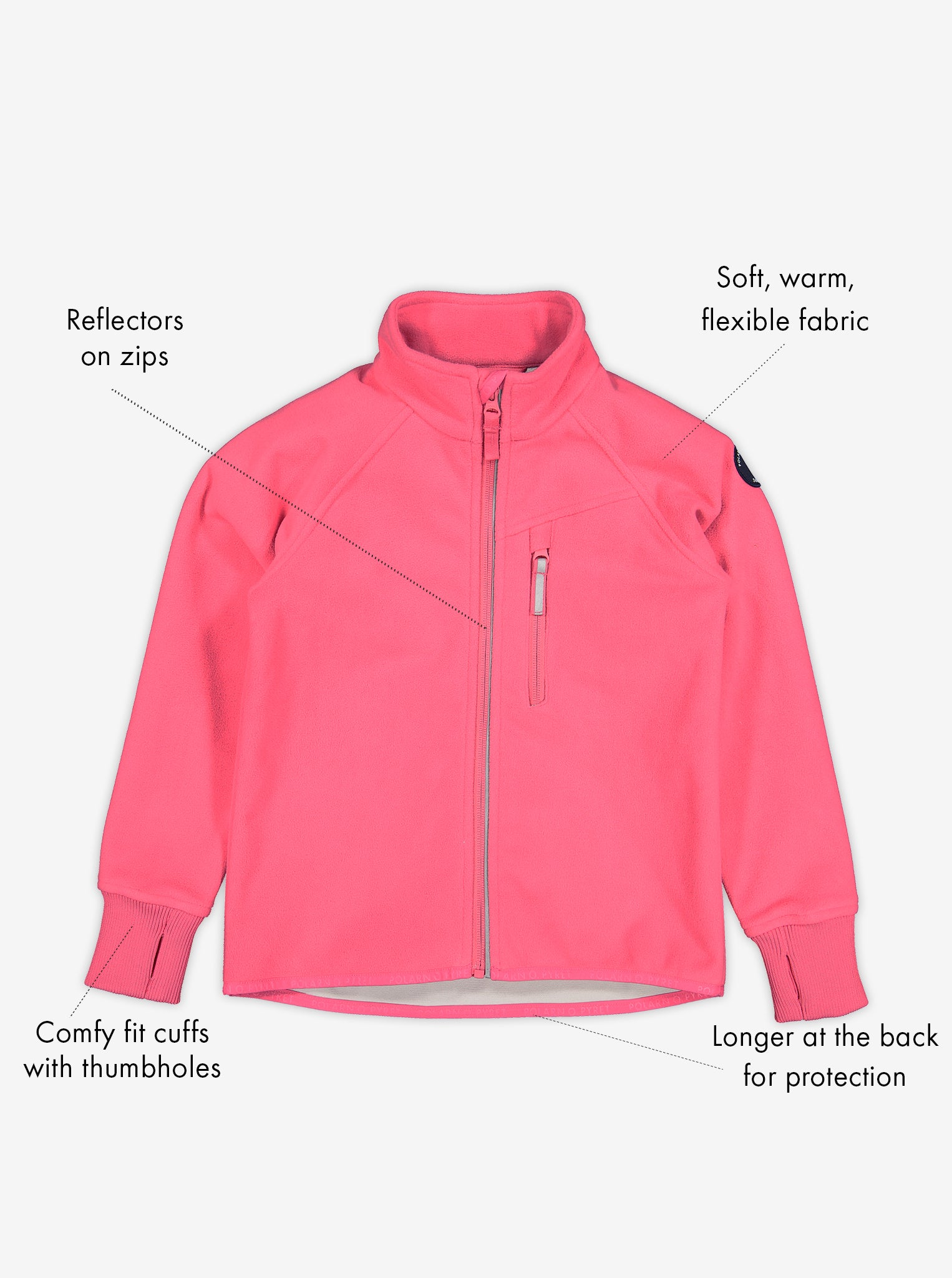 Pink, kids waterproof fleece jacket made of soft and warm fabric, comes with cuffs with thumbholes & reflectors on zips.