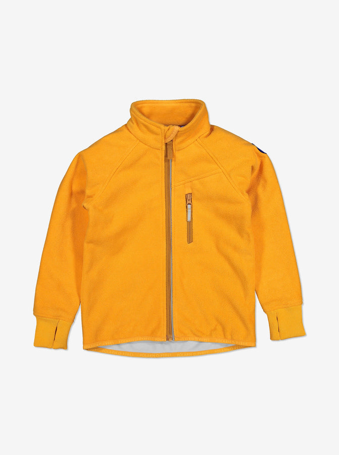 Yellow, kids waterproof fleece jacket with reflector zips and cuff thumbholes, made of breathable and soft fabric.