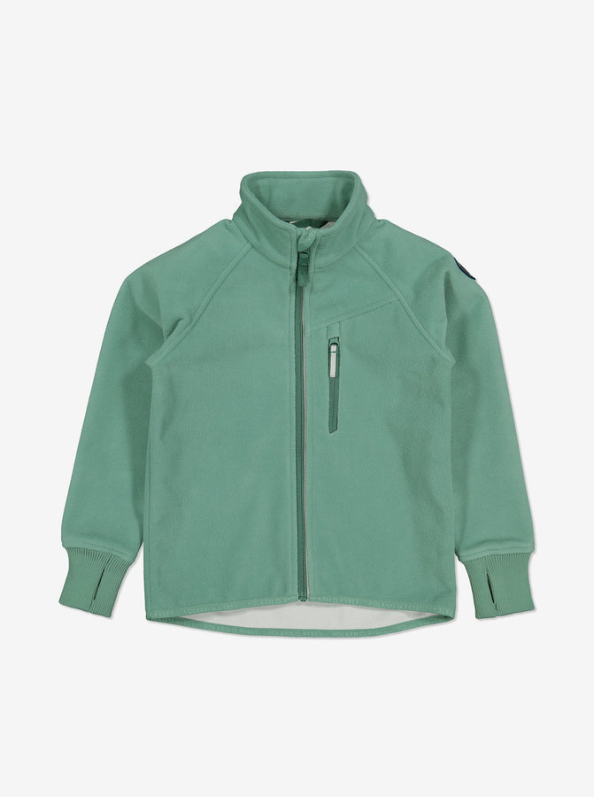 Green, kids waterproof fleece jacket, with reflectors on zips and cuff thumbholes, made of breathable and warm fabric.