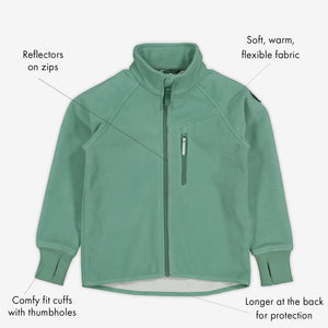 Green, kids waterproof fleece jacket with reflector on zips, cuffs with thumbholes. made of soft, warm and flexible fabric.