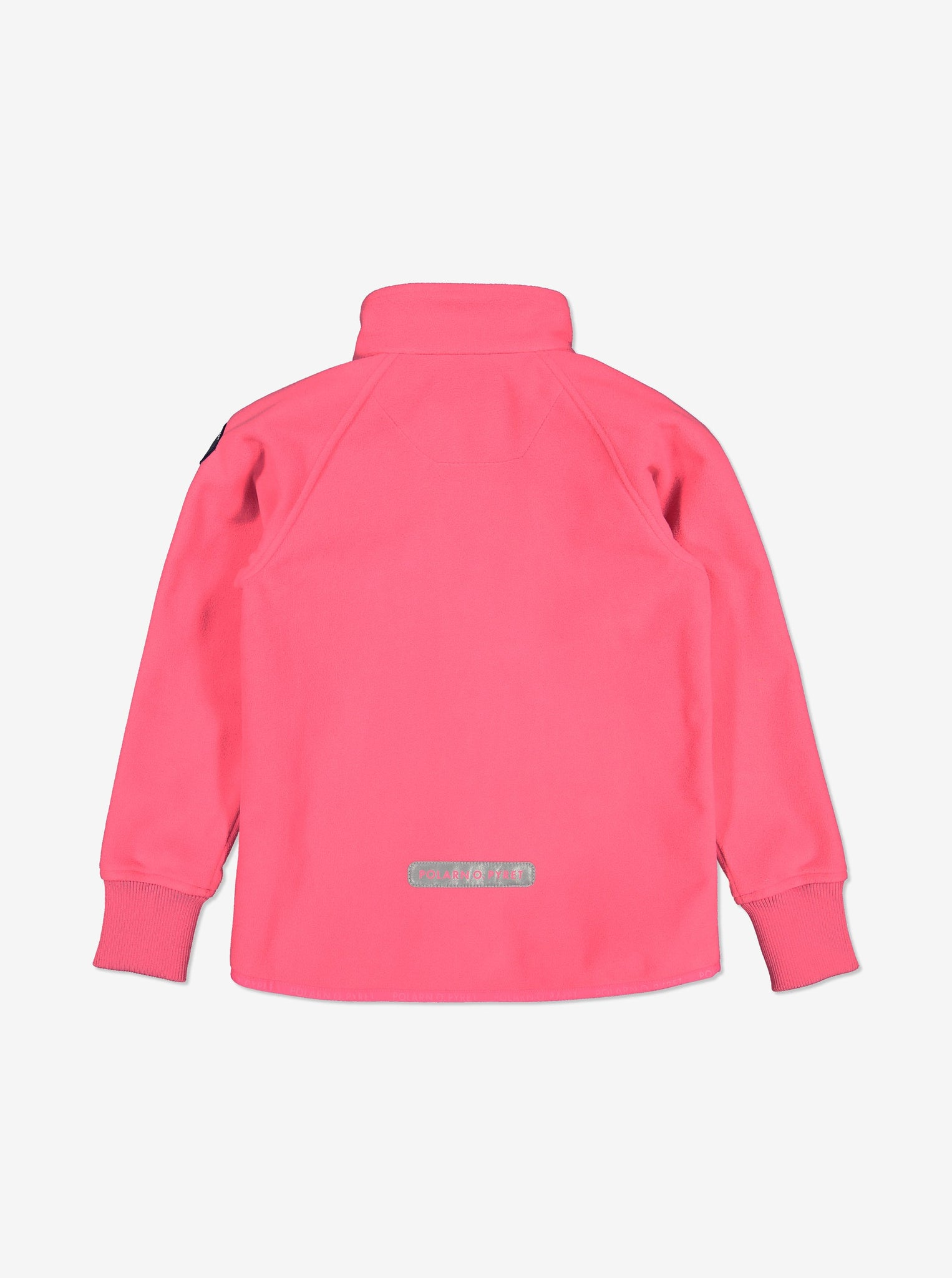 Back view of pink, kids waterproof fleece jacket with cuff thumbholes, reflector zips, made of soft and warm fabric.