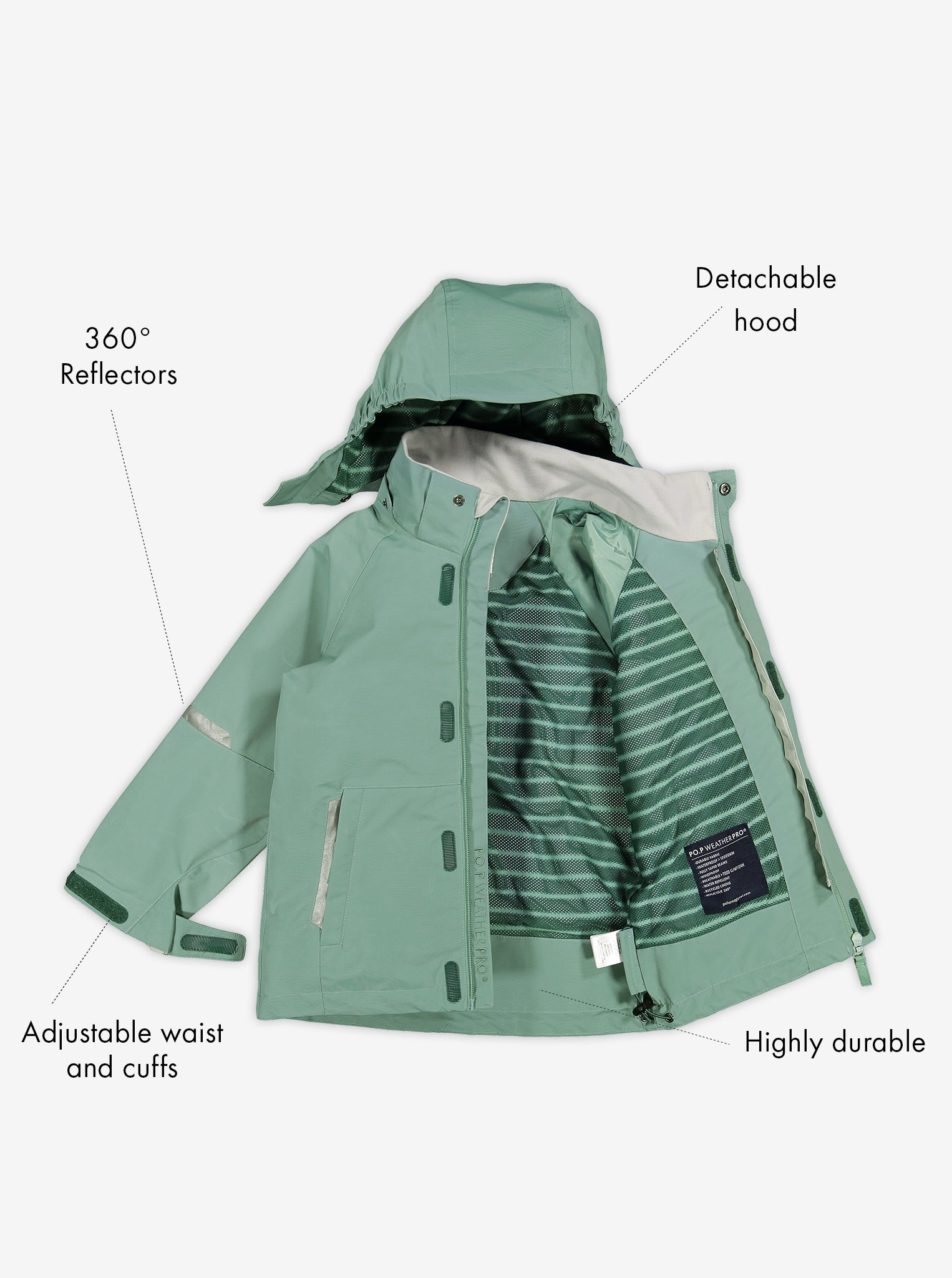 Lightweight kids waterproof jacket in colour green, includes a detachable hood, reflectors and adjustable waist and cuffs.