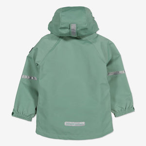 Back view of childrens waterproof jacket in colour green, comes with a detachable hood and silver reflectors.