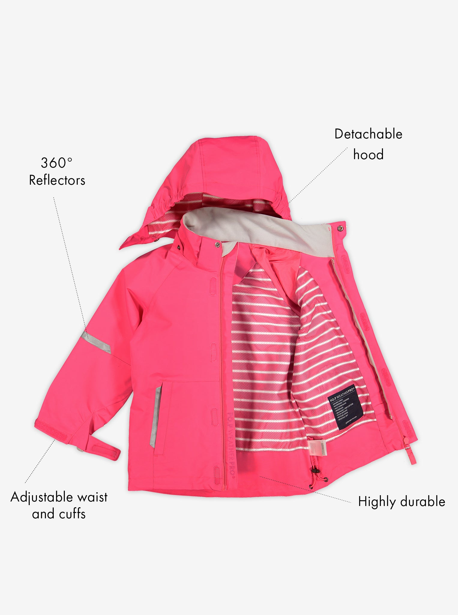 Pink, kids waterproof jacket with detachable hood, reflectors, adjustable waist and cuffs, made of durable shell fabric.