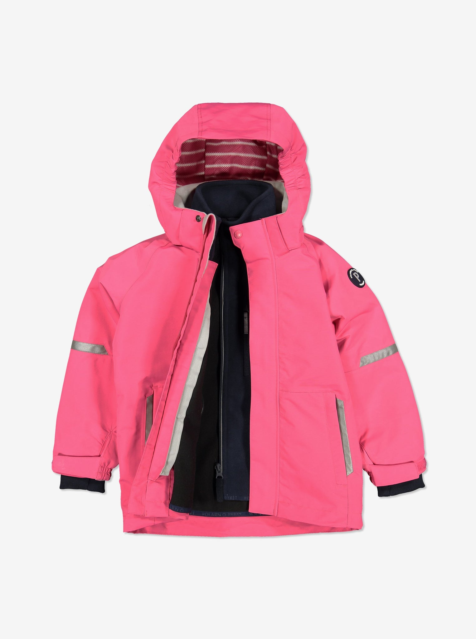 Pink, kids waterproof jacket made of shell fabric, comes with detachable hood, paired with a navy, kids fleece jacket.