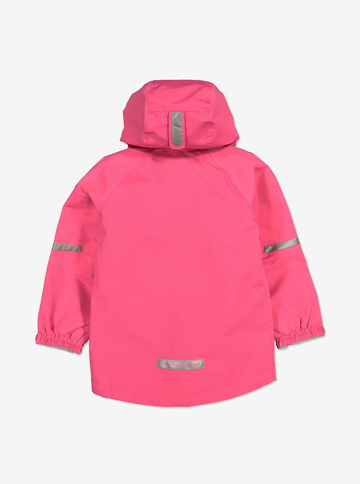 Back view of kids waterproof jacket in pink, comes with reflectors and detachable hood, made of soft shell fabric.