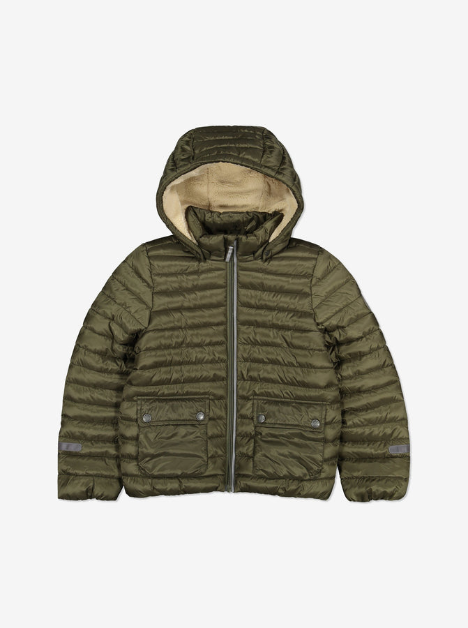Kids Water Resistant Winter Puffer Jacket-6-12y-Green-Unisex