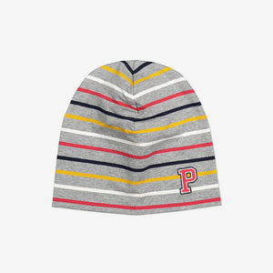 Striped Kids Beanie Hat-9m-12y-Grey-Unisex