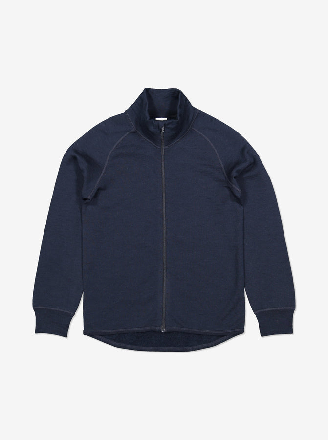 Thermal Terry Merino Kids Zip Top-6m-12y-Navy-Boy