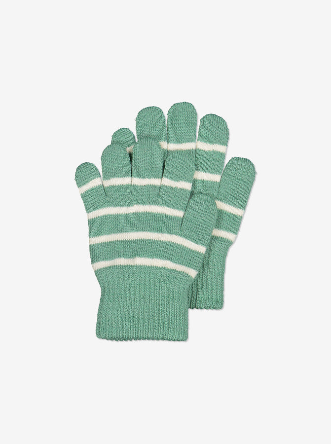 Striped Wool Kids Gloves-6m-12y-Blue-Boy