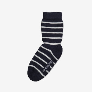 Wool Terry Kids Socks-Unisex-4m-10y-Navy