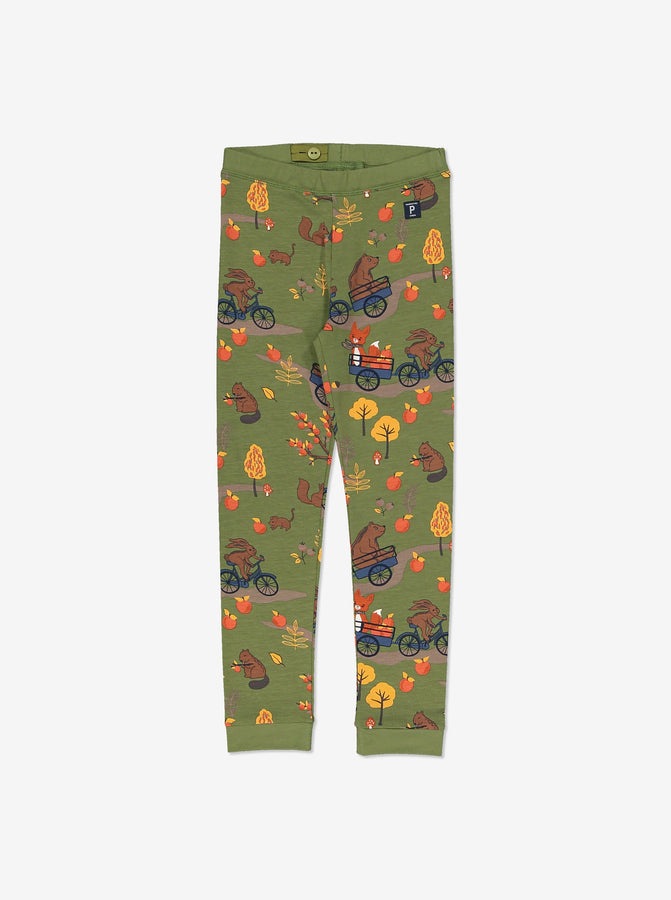 Forest Fun Kids Leggings-Unisex-1-8y-Green