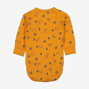 Forest Friends Wraparound Baby Bodysuit-Unisex-0-6m-Yellow