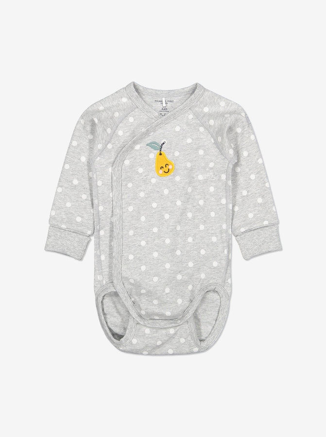 Embroidered Pear Wrapround Baby Bodysuit-Unisex-0-6m-Grey