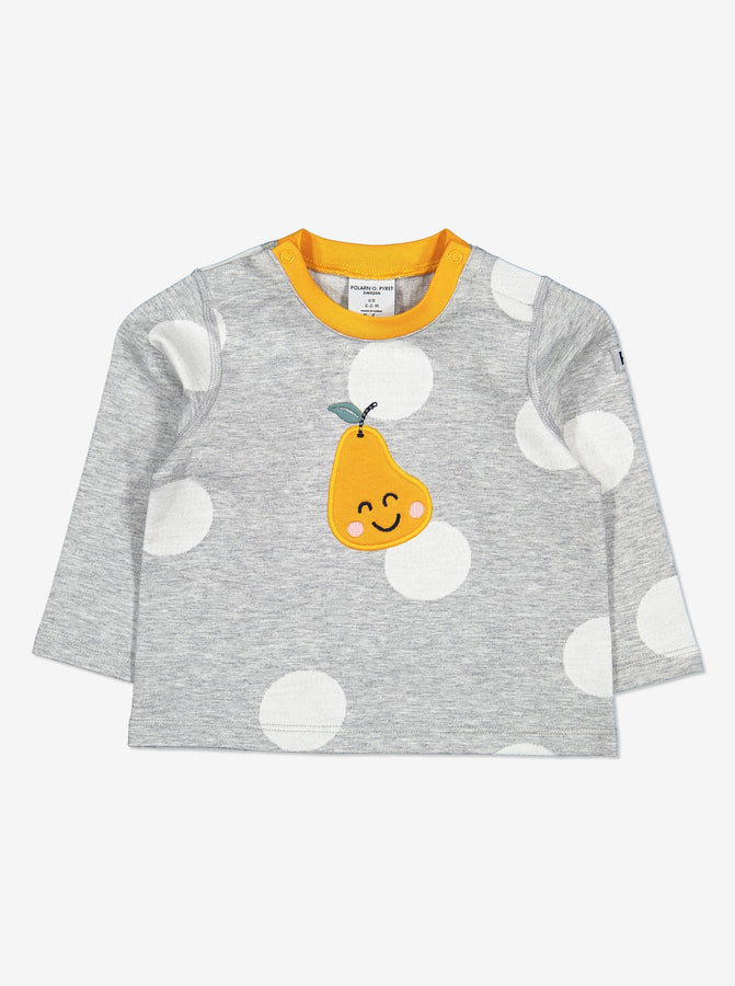 Pear Applique Baby Top-Unisex-2m-1y-Grey