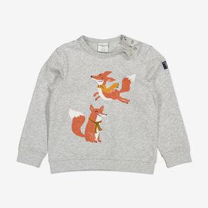 Playful Fox Kids Top-Unisex-1-8y-Grey