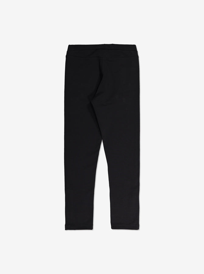 Cosy Zipped Kids Leggings-Unisex-6-12y-Black