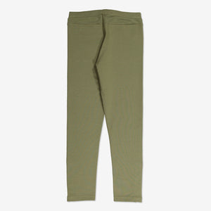 Cosy Zipped Kids Leggings-Unisex-6-12y-Green