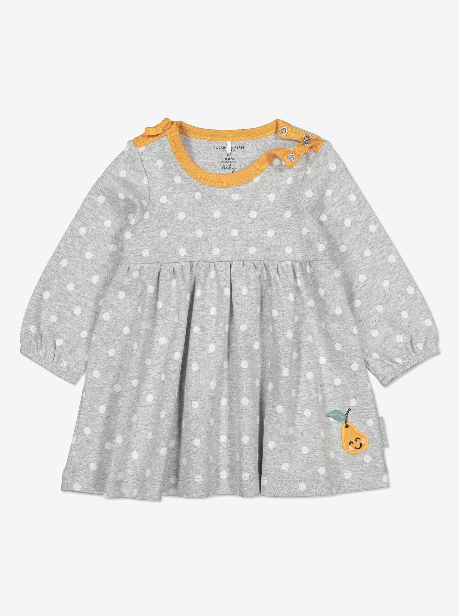 Pear Embroidered Baby Dress-Girl-0-1y-Grey