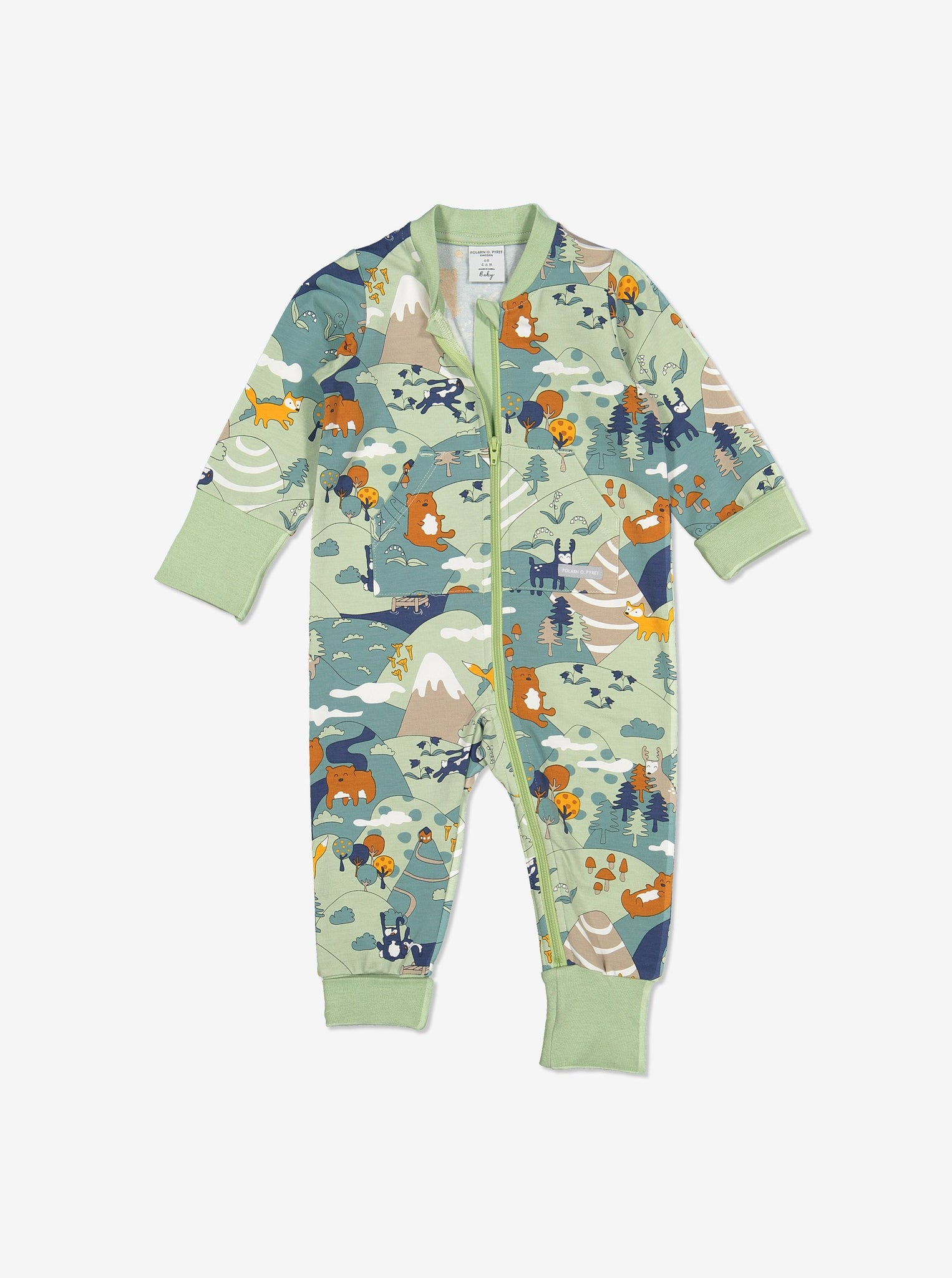 Nordic Forest Baby Romper-Unisex-0-1y-Green