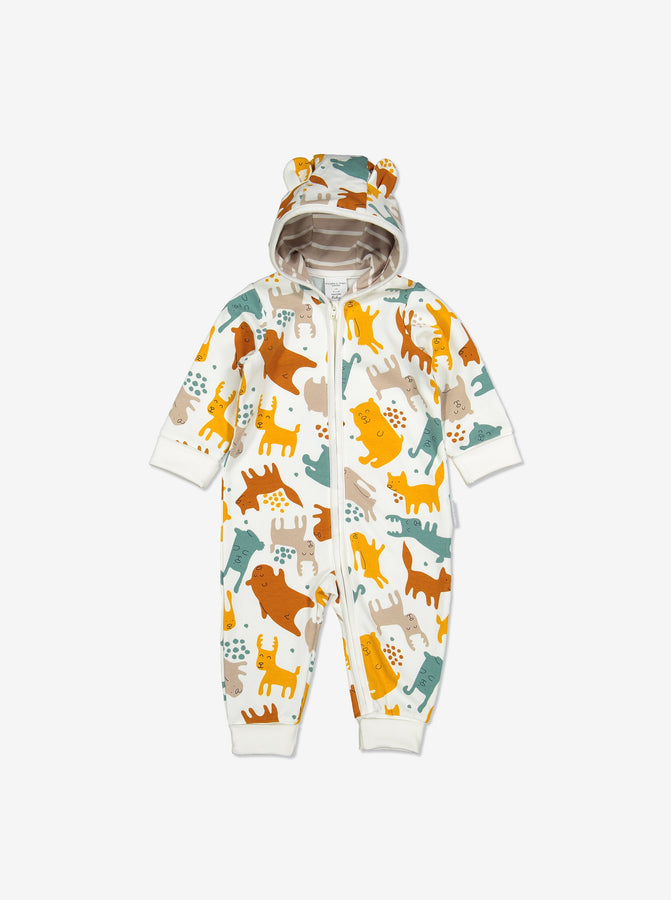 Nordic Animal Print Baby All-in-one-Unisex-0-1y-Natural