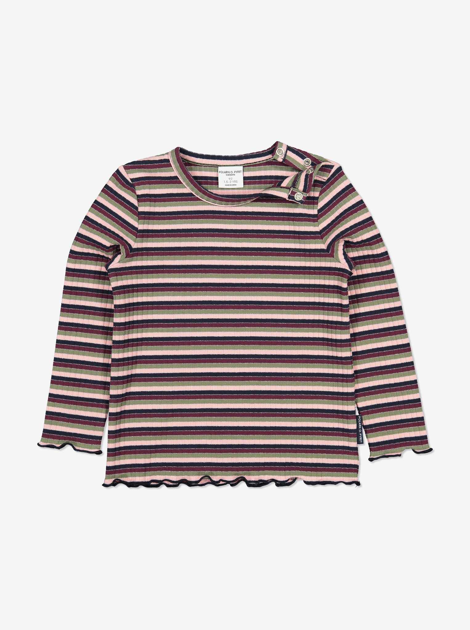 Striped Ribbed Kids Top-Girl-1-12y-Pink