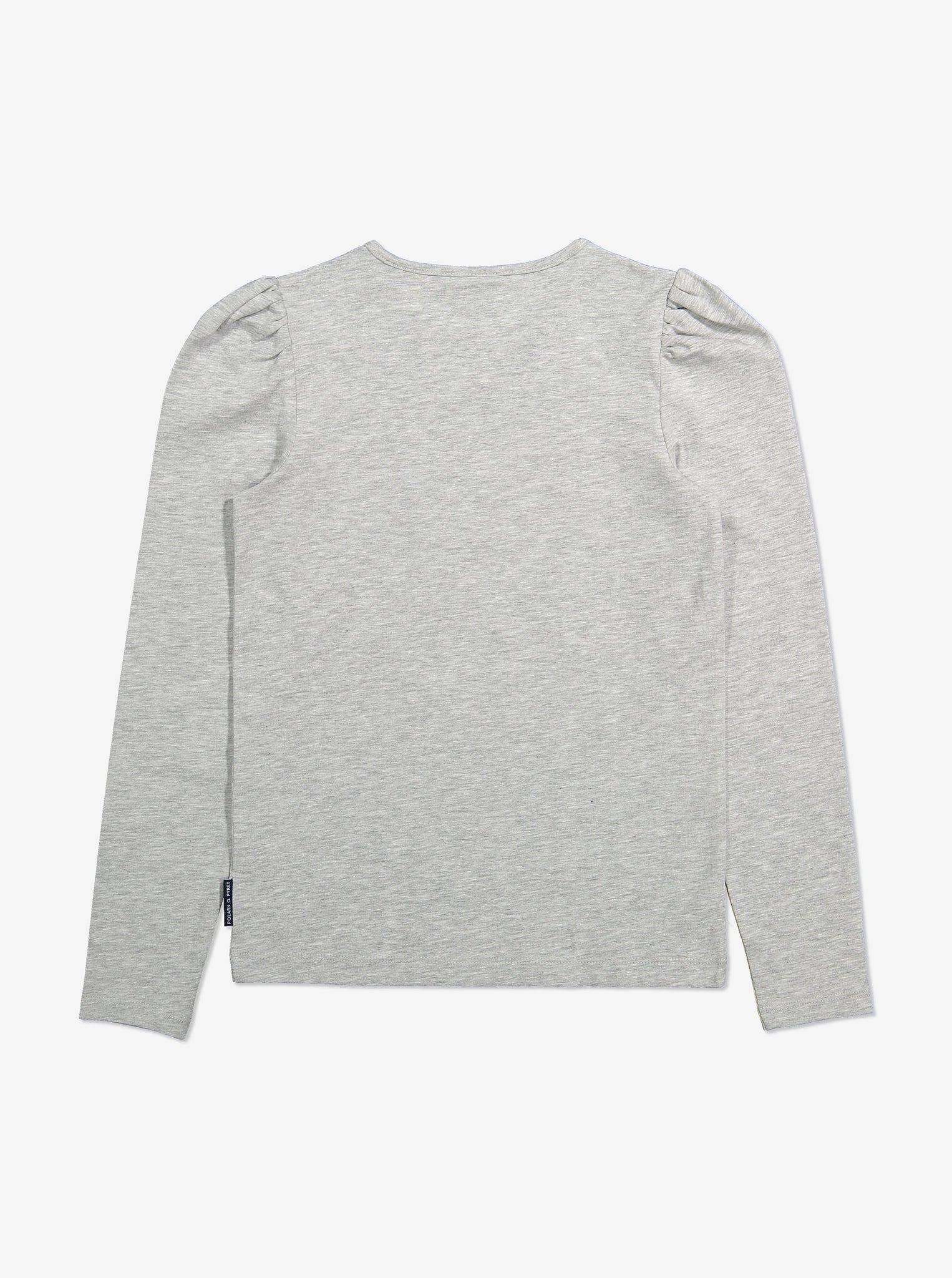 Puff Sleeve Kids Top-Unisex-6-12y-Grey