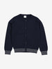 Striped Trim Kids Cardigan-Unisex-1-6y-Navy