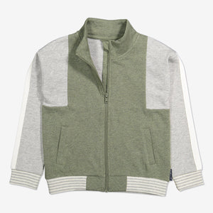 Two-Tone Kids Zipped Sweatshirt-Unisex-1-6y-Green
