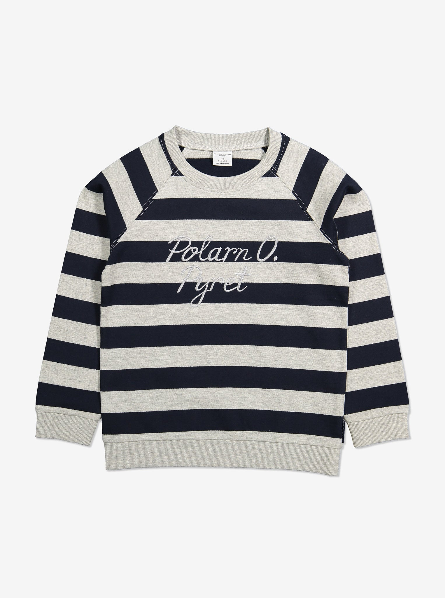 Striped Kids Sweatshirt-Unisex-1-6y-Navy
