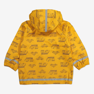 Vehicle Print Waterproof Kids Raincoat-6m-8y-Yellow-Unisex
