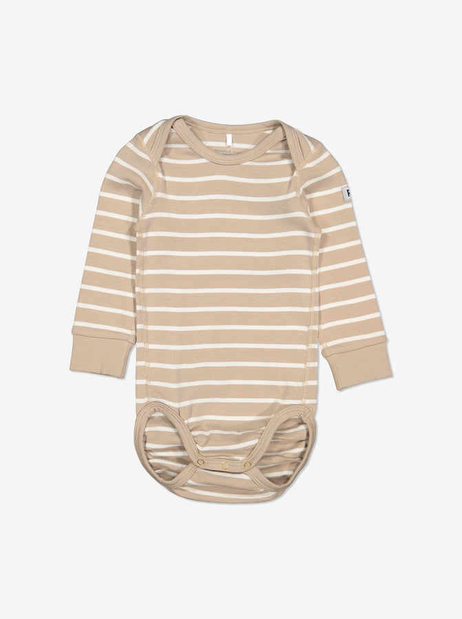 Striped Baby Bodysuit-Unisex-Preterm-2y-Brown