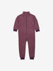 Purple Fleece Lined Striped Kids Rainsuit