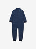Blue Fleece Lined Striped Kids Rainsuit