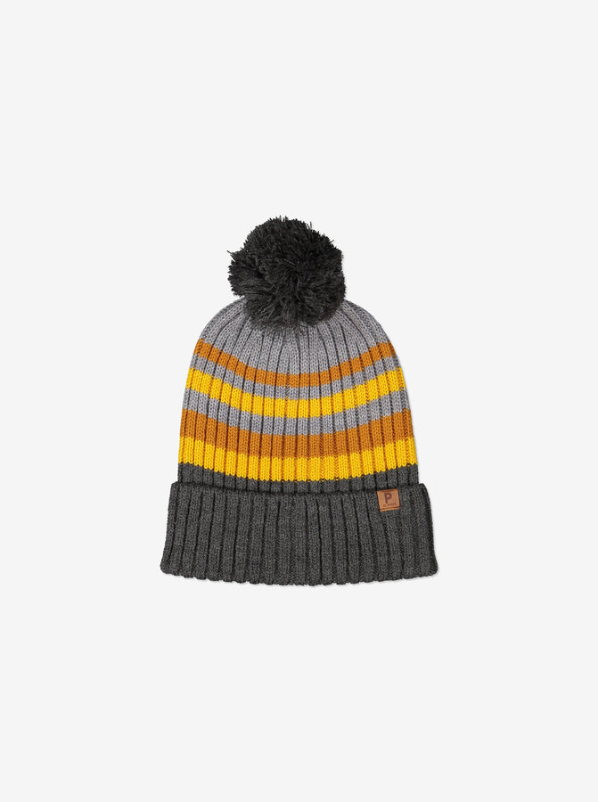 Kids Wool Bobble Hat-2-12y-Grey-Unisex