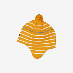 Merino Kids Bobble Hat-4m-9y-Yellow-Unisex