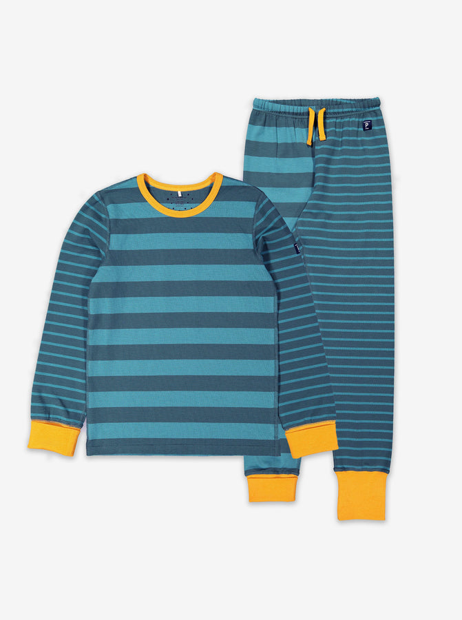 Boys Green Striped Kids Pyjamas 1-12y