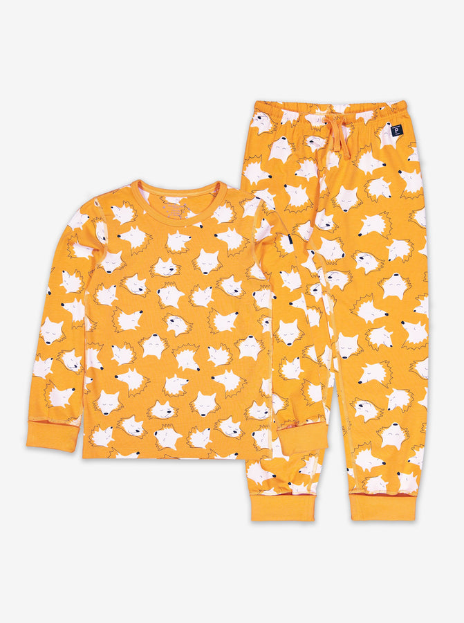 Boys Yellow Fox Print Kids Pyjamas 1-12y