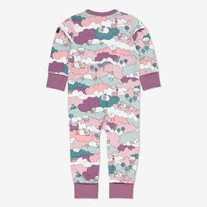 Girls Purple Sleepy Sheep Kids Onsie Pyjamas 0-4y