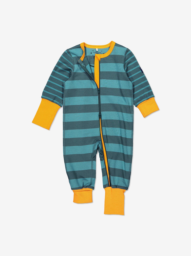 Boys Green Striped Kids Onsie Pyjamas 0-4y