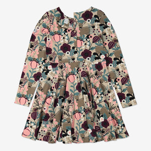 Girls Brown Fawn and Flowers Kids Dress 1-12y