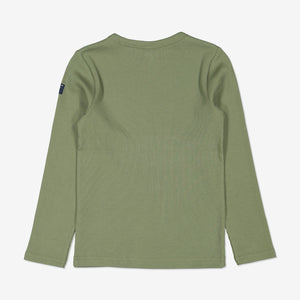 Back view of kids green top in soft organic cotton