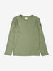 Front view of kids green top in soft organic cotton.