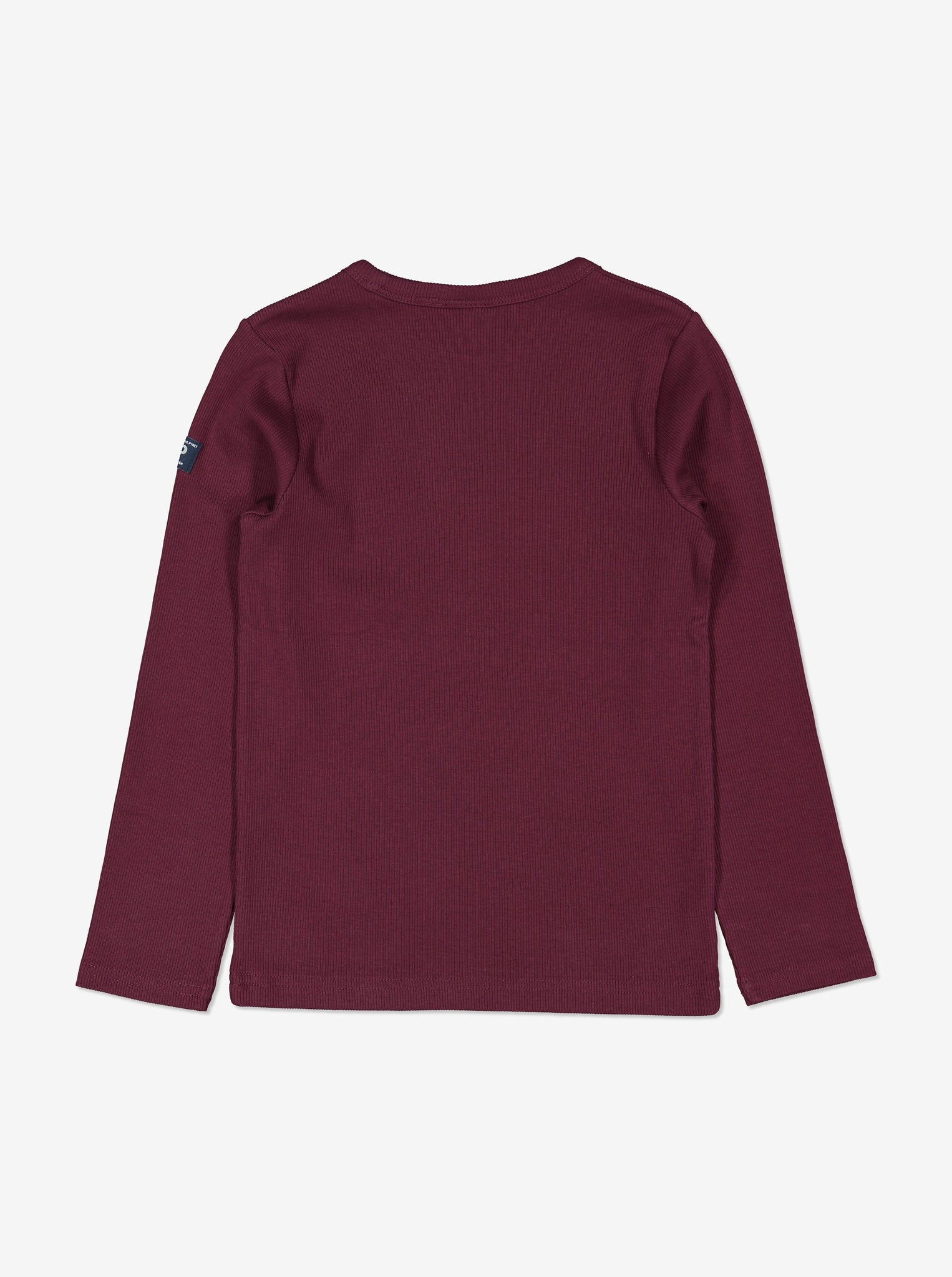 Back view of kids burgundy red top in soft organic cotton