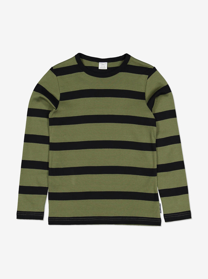 Boys Green Striped Kids Top 6-12y