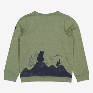 Boys Green Forest Bear Kids Top 1-8y